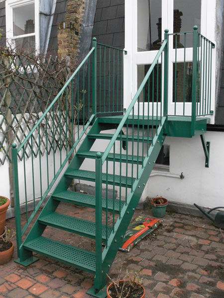 All Fabricated A Steel Staircase Cast Iron Treads, Finished With A Hot Zinc  Spray And Powder Coated ...