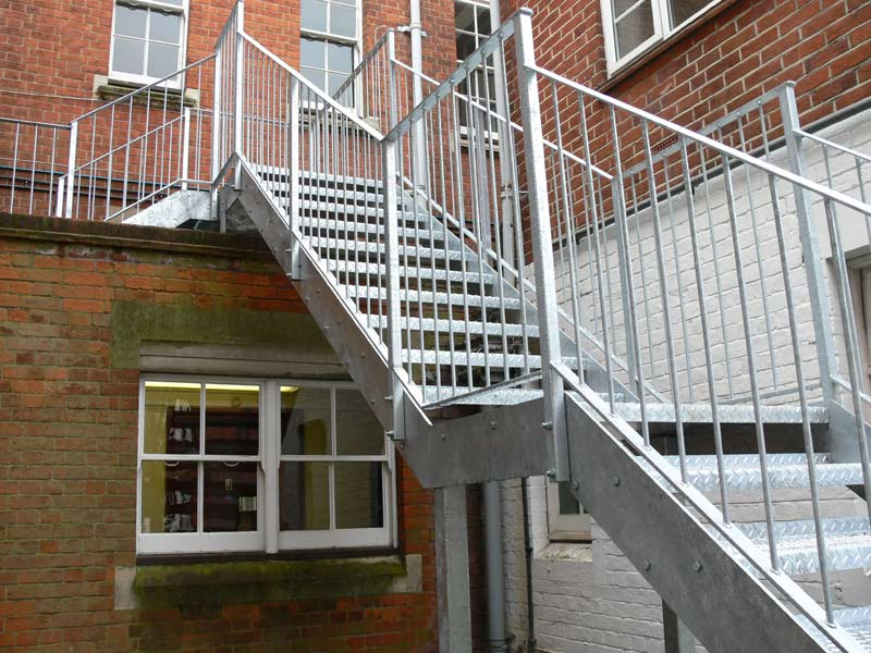 Wooden Treads Fitted External Fire Escape Galvanised Staircase For A Local School Simple Handrail Design
