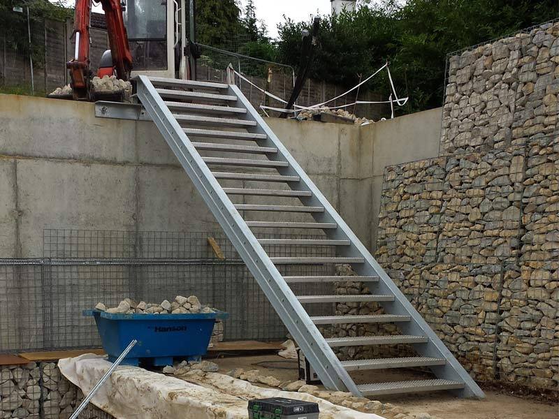 ... External Staircase With Perforated Stainless Steel Treads And Hot Dip  Galvanised Steel Channel Stringers.